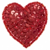 Motif Sequin/beads Heart Hologram Red 4.5x5cm